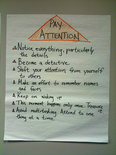 flipchart with mindfulness bullet-points